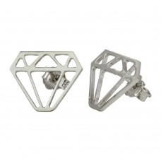 Wholesale Sterling Silver 925 Rhodium Plated Diamond Earrings - ARE00009RH