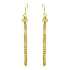 Wholesale Sterling Silver 925 Gold Plated Tassel Drop Earrings with CZ - ARE00010GP