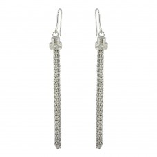 Wholesale Sterling Silver 925 Rhodium Plated Tassel Drop Earrings with CZ - ARE00010RH