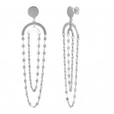 Wholesale Sterling Silver 925 Rhodium Plated Hanging Double Loop Chain Earrings - ARE00014RH