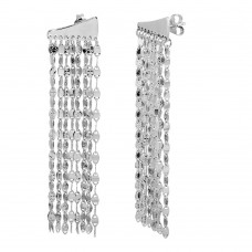 Wholesale Sterling Silver 925 Rhodium Plated 9 Row Hanging Chain Earring - ARE00015RH