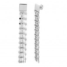 Wholesale Sterling Silver 925 Rhodium Plated Square Hanging Chain Earring - ARE00016RH