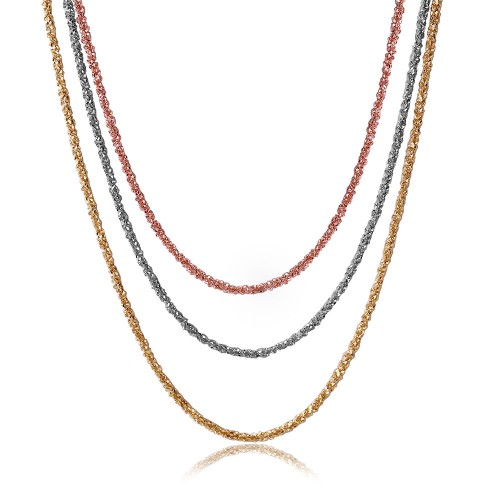 Wholesale Sterling Silver 925 3 Toned Plated 3 Stands Roc Italian Chain - ARN00001TRI