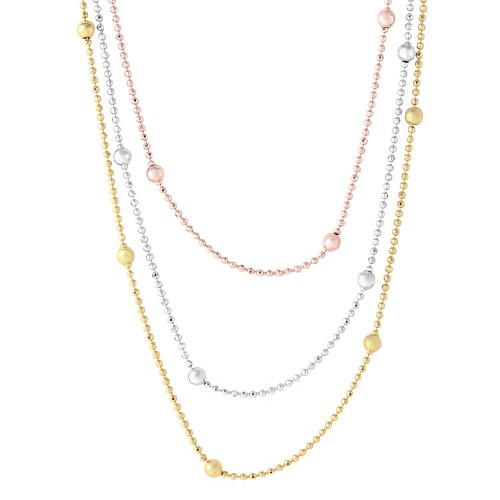 Wholesale Sterling Silver 925 3 Toned 3 Strands Beaded Chain Necklace - ARN00003
