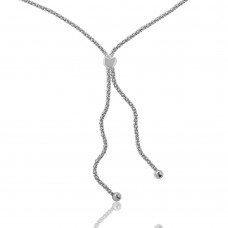 Wholesale Sterling Silver 925 Rhodium Plated Lariat Heart Italian Necklace - ARN00005