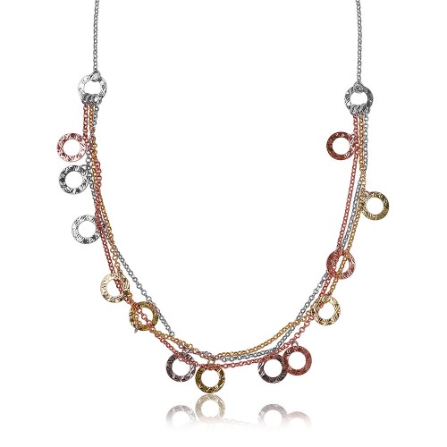 Wholesale Sterling Silver 925 Multi Strands 3 Toned With Open Disc Hanging Design Italian Necklace - ARN00007TRI