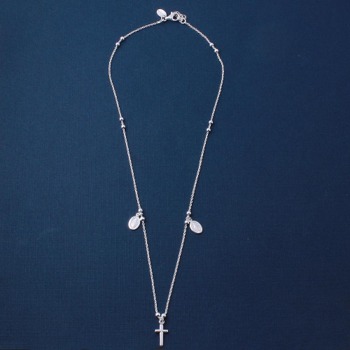 Wholesale Sterling Silver 925 High Polished Cross and Charms Necklace - ARN00014