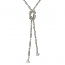 Sterling Silver Rhodium Plated Dangling Knot  Necklace - ARN00015RH