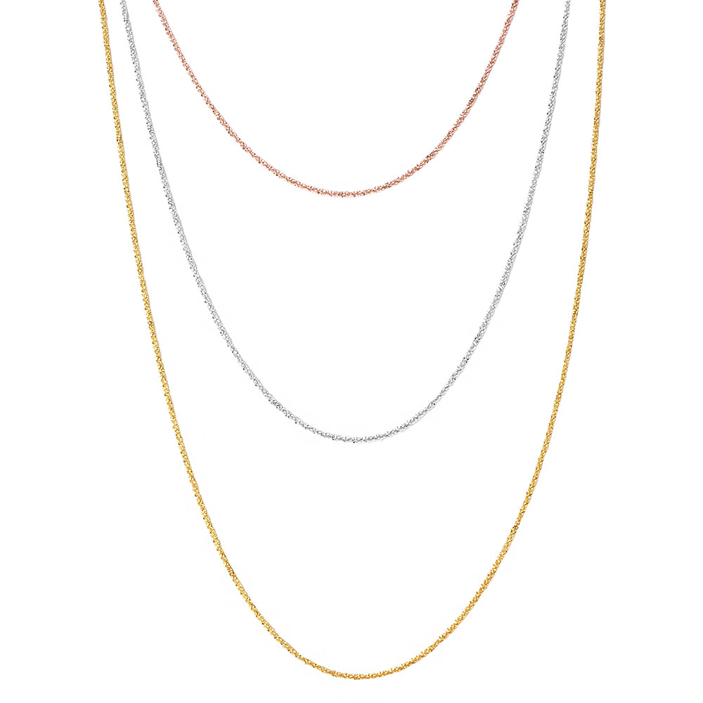 Wholesale Sterling Silver 925 3 Toned 3 Strands Roc Chain Necklace - ARN00018TRI