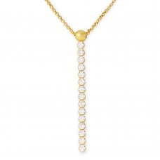 Sterling Silver Gold Plated CZ Drop Necklace - ARN00019GP