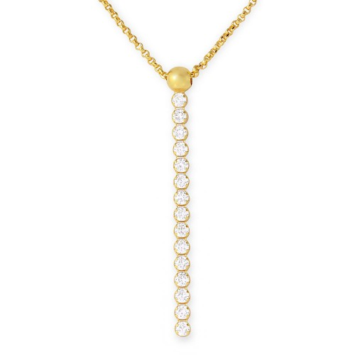 Wholesale Sterling Silver 925 Gold Plated CZ Drop Necklace - ARN00019GP