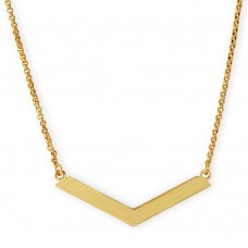 Sterling Silver Gold Plated Wide V Accent Necklace - ARN00020GP