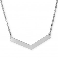 Sterling Silver Rhodium Plated Wide V Accent Necklace - ARN00020RH