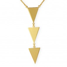 Sterling Silver Gold Plated 3 Triangle Drop Necklace - ARN00022GP