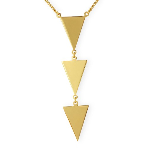Wholesale Sterling Silver 925 Gold Plated 3 Triangle Drop Necklace - ARN00022GP