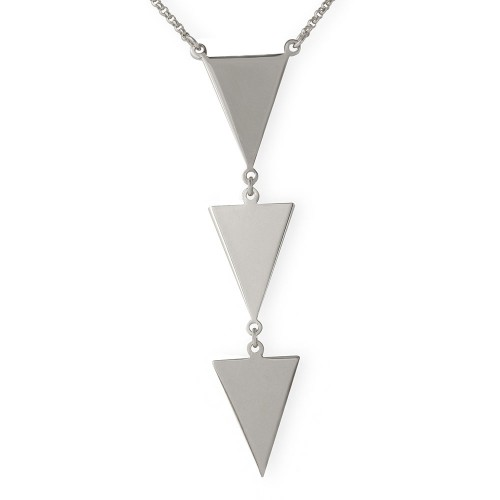 Wholesale Sterling Silver 925 Rhodium Plated 3 Triangle Drop Necklace - ARN00022RH
