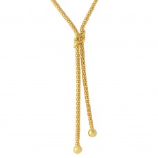 Sterling Silver Gold Plated Drop Necklace With Double Sash  - ARN00023GP