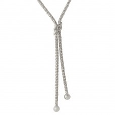Sterling Silver Rhodium Plated Drop Necklace With Double Sash - ARN00023RH