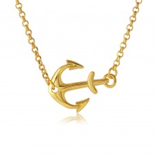 Sterling Silver Gold Plated Anchor Necklace - ARN00024GP