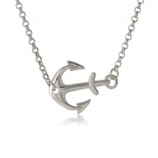 Sterling Silver Rhodium Plated Anchor Necklace - ARN00024RH