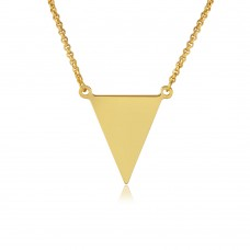 Sterling Silver Gold Plated Triangle Charm Necklace - ARN00025GP