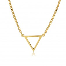 Sterling Silver Gold Plated Open Triangle Charm Necklace - ARN00026GP
