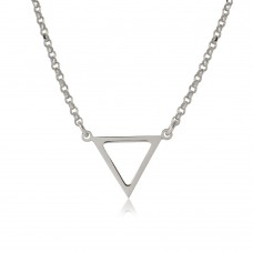Sterling Silver Rhodium Plated Open Triangle Charm Necklace - ARN00026RH