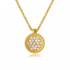 Wholesale Sterling Silver 925 Gold Plated CZ Encrusted Round Bowl Pendant with Chain - ARN00027GP
