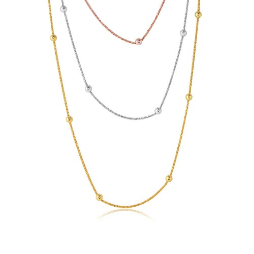 Wholesale Sterling Silver 925 3 Toned 3 Strands Roc Chain With Bead Necklace - ARN00028TRI