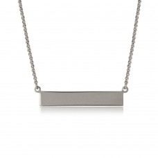 Sterling Silver Rhodium Plated Bar Necklace - ARN00029RH