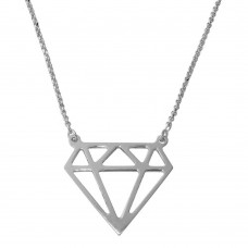Sterling Silver Rhodium Plated Diamond Outline Necklace - ARN00030RH