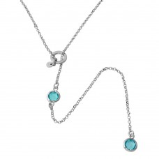 Sterling Silver Rhodium Plated Dropped Light Blue Round CZ Necklace with Adjustable Ring - ARN00031RHA
