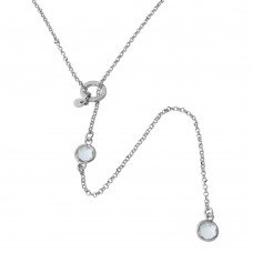 Sterling Silver Rhodium Plated Dropped Clear Round CZ Necklace with Adjustable Ring - ARN00031RHC