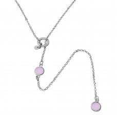Sterling Silver Rhodium Plated Dropped Pink Round CZ Necklace with Adjustable Ring - ARN00031RHP