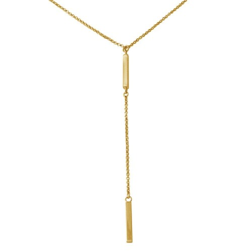 Wholesale Sterling Silver 925 Gold Plated Bar Necklace with Dropped Bar - ARN00032GP
