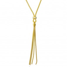 Sterling Silver Gold Plated Tassel Drop Necklace with Connected CZ Ring Knot - ARN00033GP