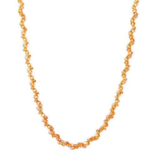 Wholesale Sterling Silver 925 Rose Gold Plated Rolo Chain with Attached Rolo Spirals - ARN00035RGP