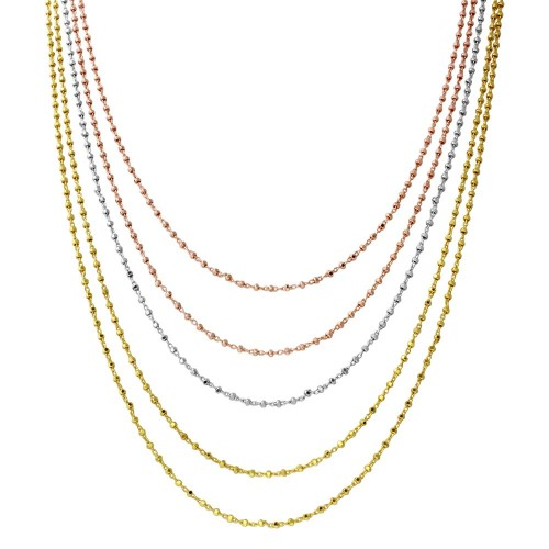 Wholesale Sterling Silver 925 Tri-Color Plated 5 Strand Bead Necklace - ARN00036TRI