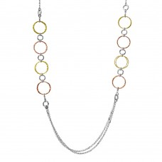Sterling Silver Tri-Color Plated Multi Open Ring Long Necklace - ARN00037TRI