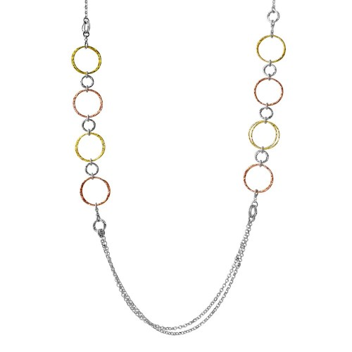 Wholesale Sterling Silver 925 Tri-Color Plated Multi Open Ring Long Necklace - ARN00037TRI