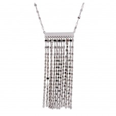 Wholesale Sterling Silver 925 Multi Row Chain Pendant Necklace - ARN00038RH