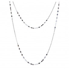 Wholesale Sterling Silver 925 Rhodium Plated Double Chain - ARN00039RH