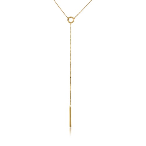 Wholesale Sterling Silver 925 Gold Plated Lariat Necklace - ARN00011GP