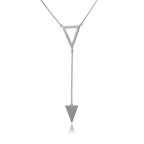Wholesale Sterling Silver 925 Rhodium Plated Necklace with 2 Triangle Drop - ARN00012RH