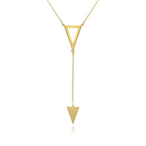 Wholesale Sterling Silver 925 Gold Plated Necklace With 2 Triangle Drop - ARN00012GP