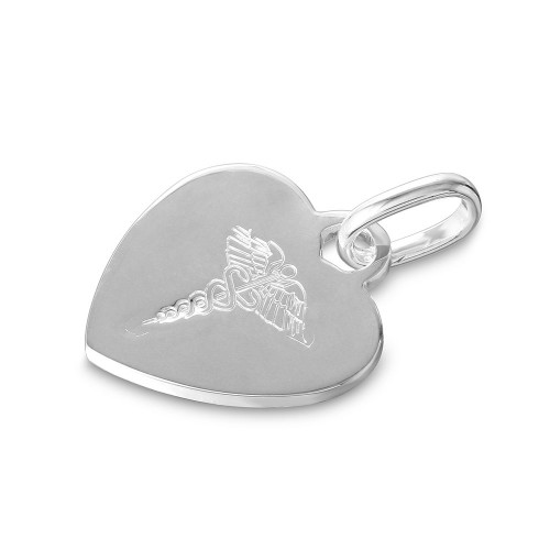Wholesale Sterling Silver 925 High Polished Heart Engravable Charm with Medical Sign - CARP00001