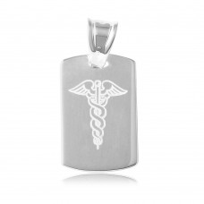 Sterling Silver High Polished Dogtag Engravable Charm With Medical Sign - ARP00003