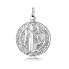 Wholesale Sterling Silver 925 High Polished Large Saint Benedict Medallion - ARP00006LG