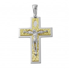 Sterling Silver Two Tone D/C Gold Plated Crucifix Pendant with Rhombus Design - ARP00012