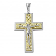 Sterling Silver Two Tone D/C Gold Plated Crucifix Pendant with X Design - ARP00013